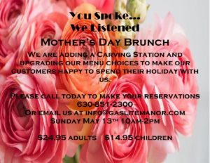 Mother's Day Brunch @ Gaslite Manor | Aurora | Illinois | United States